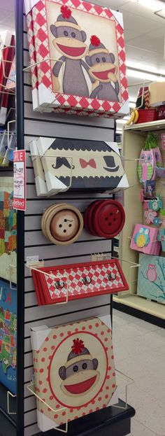 If I had to do our sons room over I would probably do this. Sock monkey theme from Hobby Lobby.