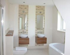 photo of compact contemporary beige white bathroom with his and hers sinks mirror mirrors mosaic tiles tiles