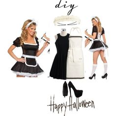 """""""French maid DIY"""" #halloween #costume #wearable by ohfanyfany on Polyvore"""