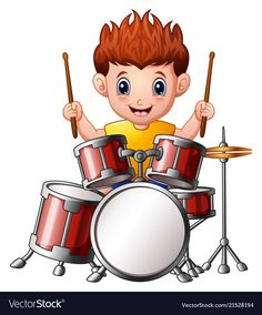 Cartoon boy playing a drums Royalty Free Vector Image Cartoon Boy, Cartoon Images, Desenho Kids, Drum Lessons For Kids, Gretsch Drums, Oil Pastel Art, Hobbies For Kids, School Clipart, Music