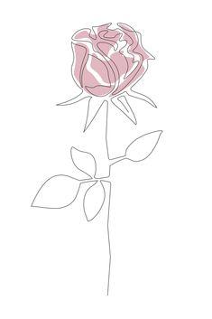One Line Rose Art Print