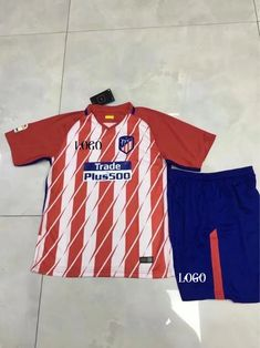 cb4b0e33d 17-18 Children Cheap Atletico Madrid Red Home Soccer Jersey Unifroms Boy Football  Kits