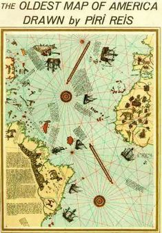♡ Ethereal ♡ map paper goods adventure Travel The Oldest Map Of America Drawn By a turkish sailer Piri Reis Centures Before Christopher Columbus Aliens And Ufos, Ancient Aliens, Ancient History, Ancient Map, Old Maps, Antique Maps, Vintage Maps, Piri Reis Map, Ancient Astronaut Theory