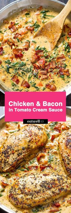 Who can turn down a nourishing dinner that pairs both chicken AND bacon? Chicken breasts seasoned with Italian spices get seared tender and drenched is a cheesy tomato spinach sauce with a savory n…(Keto Recipes Chicken) Chicken Breast With Bacon, Chicken Bacon, Chicken Breasts, Chicken Recipes, Keto Chicken, Bacon Pasta, Cheesy Chicken, Chicken Pasta, Shredded Chicken