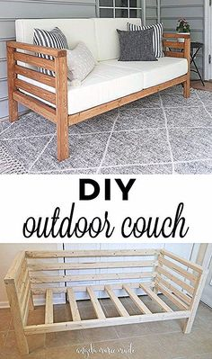 So you build a DIY Outdoor Couch for only 30 US Dollar lumber! This Outdoor Couch is perfect Diy Furniture Couch, Diy Couch, Diy Outdoor Furniture, Diy Furniture Projects, Home Projects, Living Room Furniture, Furniture Design, Garden Projects, Diy Exterior Furniture