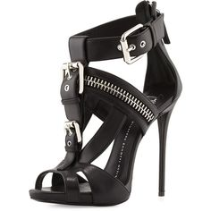 Giuseppe Zanotti Buckled T-Strap Biker Sandal (€790) ❤ liked on Polyvore featuring shoes, sandals, heels, high heels, black, nero, t strap sandals, high heel shoes, black high heel sandals and black shoes