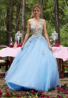 Floral Embroidered Tulle Ballgown with Deep-V Neckline and Open Back. Satin Waistband. Colors Available: Bahama Blue, Blush