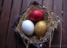 diy easter glitter eggs