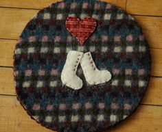 Wool trivet - For the love of skating by LittleWool on Etsy