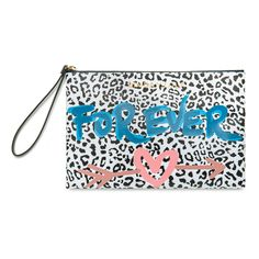BIMBA Y LOLA medium make-up case with blue letters against a white background. From the Graffiti Collection, which combines animal prints with coloure