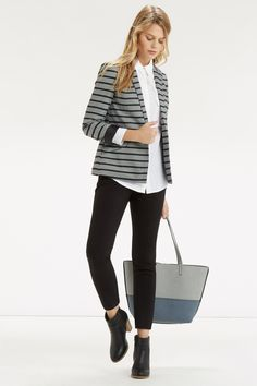 Stripe Ponte Jacket. WAS £45, NOW £22 - http://www.oasis-stores.com///oasis/fcp-product/5704705