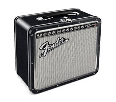 (Back in stock) - Fender Amp Tin Lunch/Stash Box - you'll want to put food, snacks, picks, strings, whatever fits into this mini replica of the Fender Deluxe Reverb Amp. Super cool & functional – Measures 7.75″ x 6.75″.
