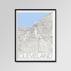 Cleveland Map Print - Minimalist City Map Art of Cleveland Poster - Wall Art Gift - COLORS - white, blue, red, yellow, violet Cleveland map, Cleveland print, Cleveland poster, Cleveland map art, Cleveland gift  More styles - Cleveland - maps on the link below https://www.etsy.com/shop/PFposters?search_query=Cleveland