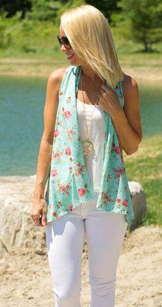 Floral Mint Vest - $26.25 - www.shopcsgems.com