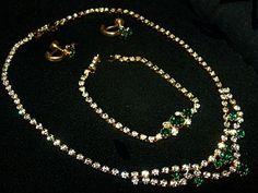 Green Rhinestone Necklace Bracelet Earring by BrightgemsTreasures
