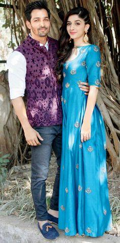 Harshvardhan Rane and Mawra Hocane promote 'Sanam Teri Kasam' Asian Bridal Wear, Indian Bridal Outfits, Indian Bridal Fashion, Indian Dresses, Bridal Dresses, Pose, Bollywood Fashion, Bollywood Couples, Kurti Designs Party Wear