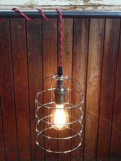 Caged pendant light Bell jar lighting birdcage hanging light rustic lighting handmade steel light fixture