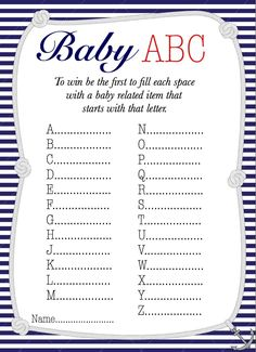 Nautical Baby ABC baby shower game Free Printable