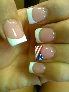 Suttle 4th of July nails!!! Love this idea of white tips and then an American flag on one finger!
