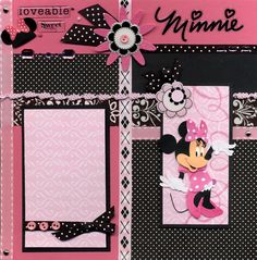 Silly Bees Chickadees Gallery: Minnie Hot Pink and Black Left Page Baby Girl Scrapbook, Birthday Scrapbook, Kids Scrapbook, Travel Scrapbook, Scrapbook Paper Crafts, Album Scrapbook, Disney Scrapbook Pages, Scrapbook Layout Sketches, Scrapbooking Layouts