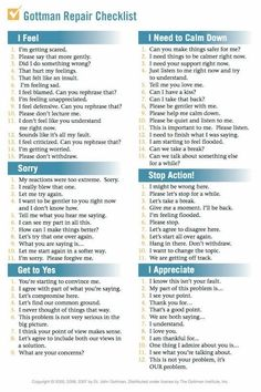 Checklist & Four Horsemen of the Apocalypse (PDF) Gottman Repair ChecklistGottman Repair Checklist Relationship Therapy, Healthy Relationship Tips, Relationship Advice, Strong Relationship, Relationship Repair, Relationship Tattoos, Communication Relationship, Relationship Challenge, Healthy Marriage
