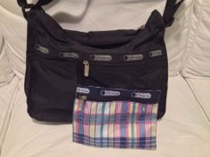 Vintage LeSportsac Black Everyday Crossbody Handbag w/Matching Pouch