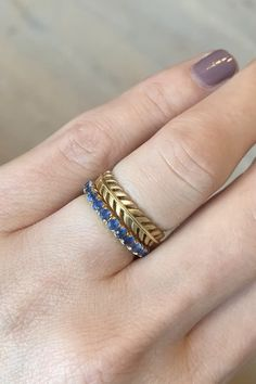Golden Quill & Sapphire Old Miner Gold Jewelry Simple, Rose Gold Jewelry, Jewelry Rings, Jewelry Accessories, Jewelry Design, Simple Gold Rings, Jewellery, Simple Earrings, Diy Jewelry