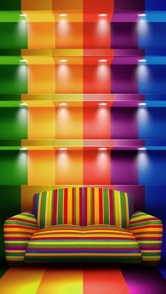 I LuV the colours of the rainbow - but this is Definitely not for me. If it were my living room, I'd have vertigo, migranes, fits of anxiety. Happy Colors, True Colors, All The Colors, Vibrant Colors, World Of Color, Color Of Life, Taste The Rainbow, Belle Photo, Rainbow Colors