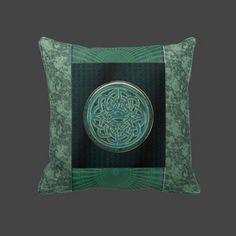 Metallic Celtic Knot on Green Brocade Throw Pillow  $63.50