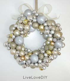 Christmas Ornament Wreath! Wicker wreath form, hot glue and 75 to 100 dollar tree ornaments. DO IT!