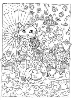 Creative Cats Coloring Book by Marjorie Sarnat @ Dover Publications - Great Idea for an Art Quilt Free Adult Coloring Pages, Cat Coloring Page, Animal Coloring Pages, Colouring Pages, Printable Coloring Pages, Free Coloring, Coloring Sheets, Coloring Books, Cat Colors