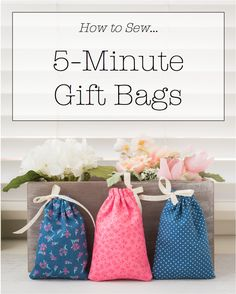 5-Minute Fabric Gift Bag + Tutorial + Free Pattern, diy gift bags, sewing drawstring bag, fabric bags, small pouch, coin pouch, bag and ribbon, sewing gifts, quick sewing projects, sewing for beginners, fat quarter bags