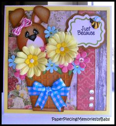 Just Because Bunny card created by PAPER PIECING MEMORIES BY BABS. Pattern by Kadoodle Bug Designs and stamped sentiment by Craftin Desert Divas.