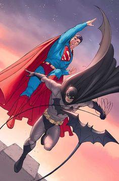 Superman and Batman by Ian Churchill and John Rauch I'm off to Comic-Con! Batman Vs Superman, Mundo Superman, Batman Arkham, Batman Robin, Arte Dc Comics, Dc Comics Art, Dc Comics Characters, Dc Heroes, Comic Book Heroes