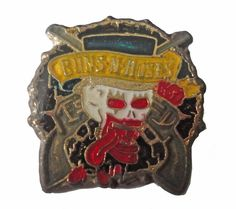 """GUNS N ROSES vintage enamel pin heavy metal jacket 1980s axl rose slash by VintageTrafficUSA  45.00 USD  A vintage Guns N Roses pin! Excellent condition. Measures: approx 1"""" or less Add inspiration to your handbag tie jacket backpack hat or wall. Have som"""