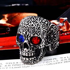 Sold by Pair 316L Surgical Steel Evil Knight Skull Red CZ Eyes Stud Freedom Fashion Earrings