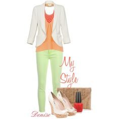 Lime Green and Coral, created by deniselanders on Polyvore