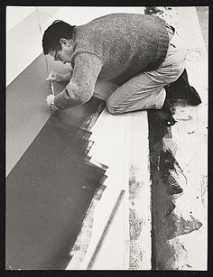 Citation: Kenneth Noland painting on the floor, ca. 1968 / unidentified photographer. Miscellaneous photographs collection, Archives of American Art, Smithsonian Institution.