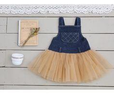 Vintage Inspired Girls Clothes Lillie Denim vintage-inspired dress | Vindie Baby