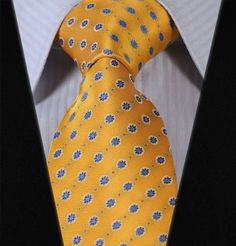 "TF117Y8 yellow blue Floral 3.4"" Silk Lots Wedding Gravata Jacquard Man Tie Necktie Pocket Square Handkerchief Set Suit"
