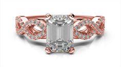Zlatý zásnubný prsteň TALA z ružového zlata 14 karátové briliant emerald solitaire s postrannými diamantmi