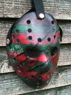 Freddy Krueger style hockey mask, with Freddy sweater art & glove slash marks - For sale in Arttastic studios ebay shop