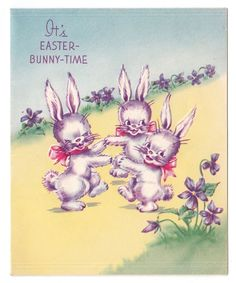 Vintage Greeting Card Easter Bunny Rabbit Heywood 1940s Pretty Spring Violets