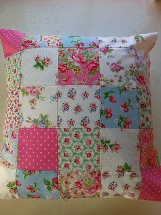 Patchwork cushion made with cath kidston fabrics by patchwork and lace, via Flickr