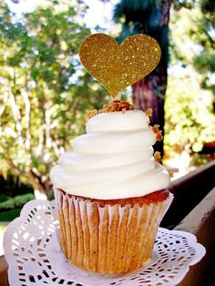 Only 50 cents each - set of 12 - Gold Glitter Cupcake Toppers - wedding cupcake toppers - heart cupcake toppers - love is sweet