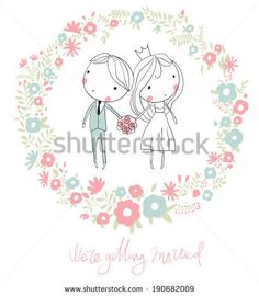 Bride and groom.  Cute vector wedding card with flowers.  - stock vector