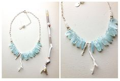 ∆∆∇∇ elementality | aquamarine, white coral, and white saphire •LUXE• necklace by -hush-