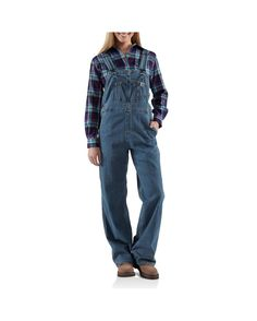 The Carhartt Women's Denim Bib Overalls - Unlined are cleverly designed for the working woman. Made with a blend of oz. cotton and spandex, these overalls offer durability with a stretch fit that keeps you comfortable throughout the day by g Work Overalls, Blue Jean Overalls, Bib Overalls, Dungarees, Work Jeans, Shorts, Womens Denim Overalls, Carhartt Overalls