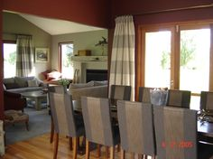 Wanaka Dining. Dining chairs Chivasso fabric. Curtains Mokum. Aalto Swoon on walls.