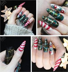 Christmas trees and candy canes by Bunnytailnails